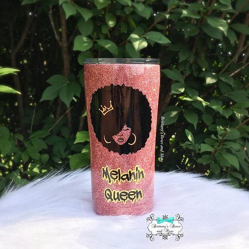 Melanin Queen Glitter Tumbler