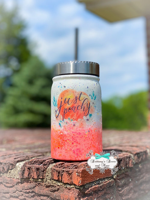 Just Peachy Mason Jar Tumbler