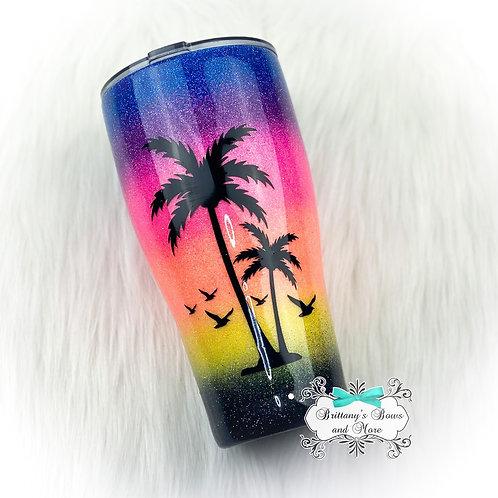 Tropical Sunset Glitter Tumbler