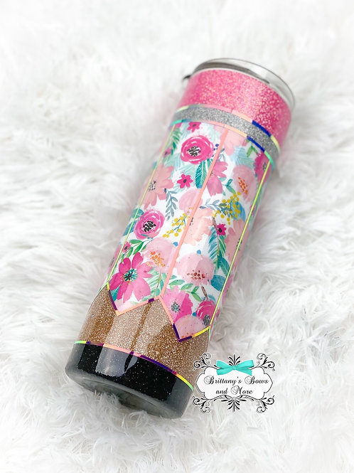Floral Pencil Glitter Tumbler ~ Teacher Gift