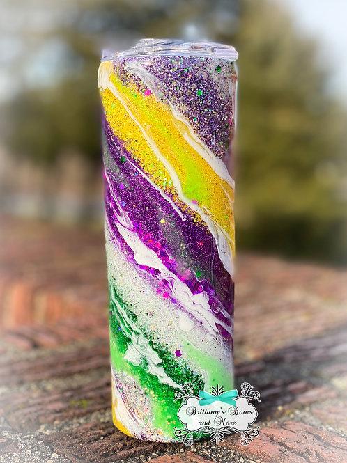 Mardi Gras Inspired Skinny Glitter Marble Tumbler
