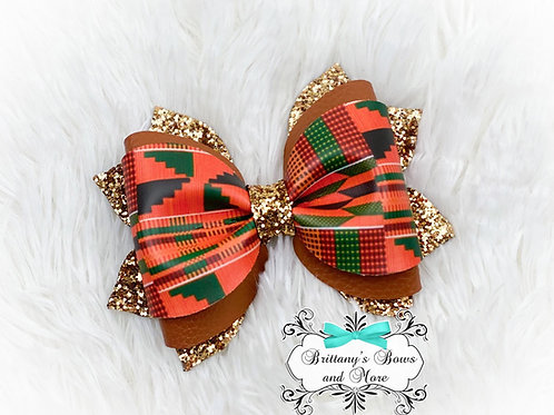 Kente Inspired Faux Leather Bow