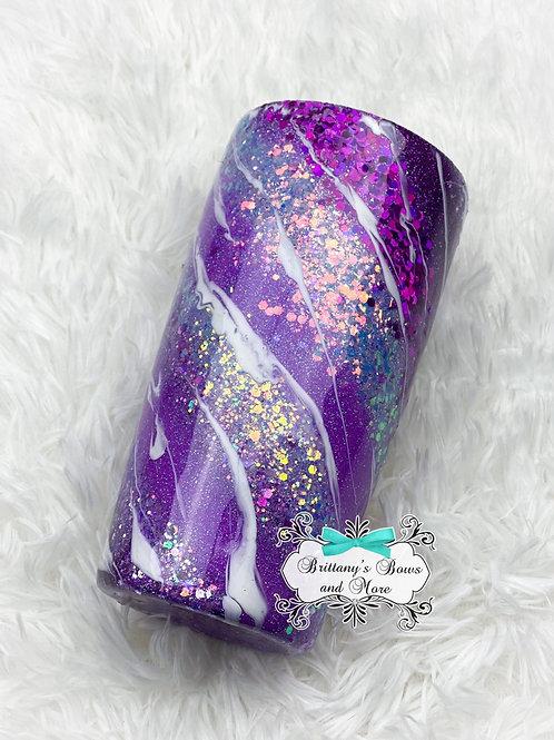 February Birthstone Inspired Glitter Marble Tumbler