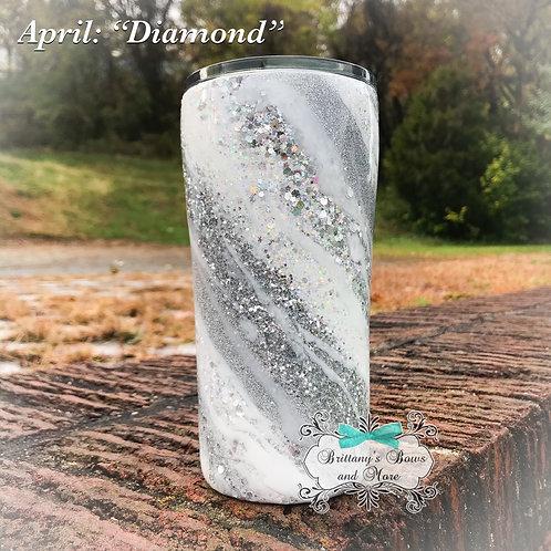 April Birthstone Inspired Glitter Marble Tumbler