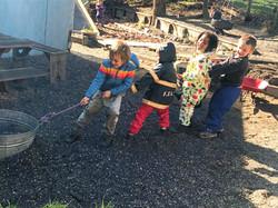 Waldorf preschoolers working together.