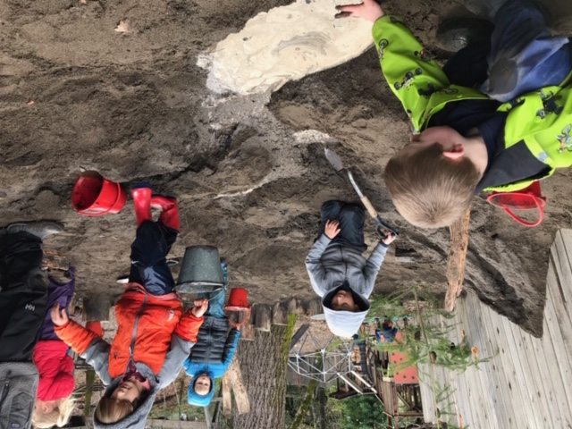 Outdoor play in a Waldorf kindergarten often leads to basic engineering concepts.