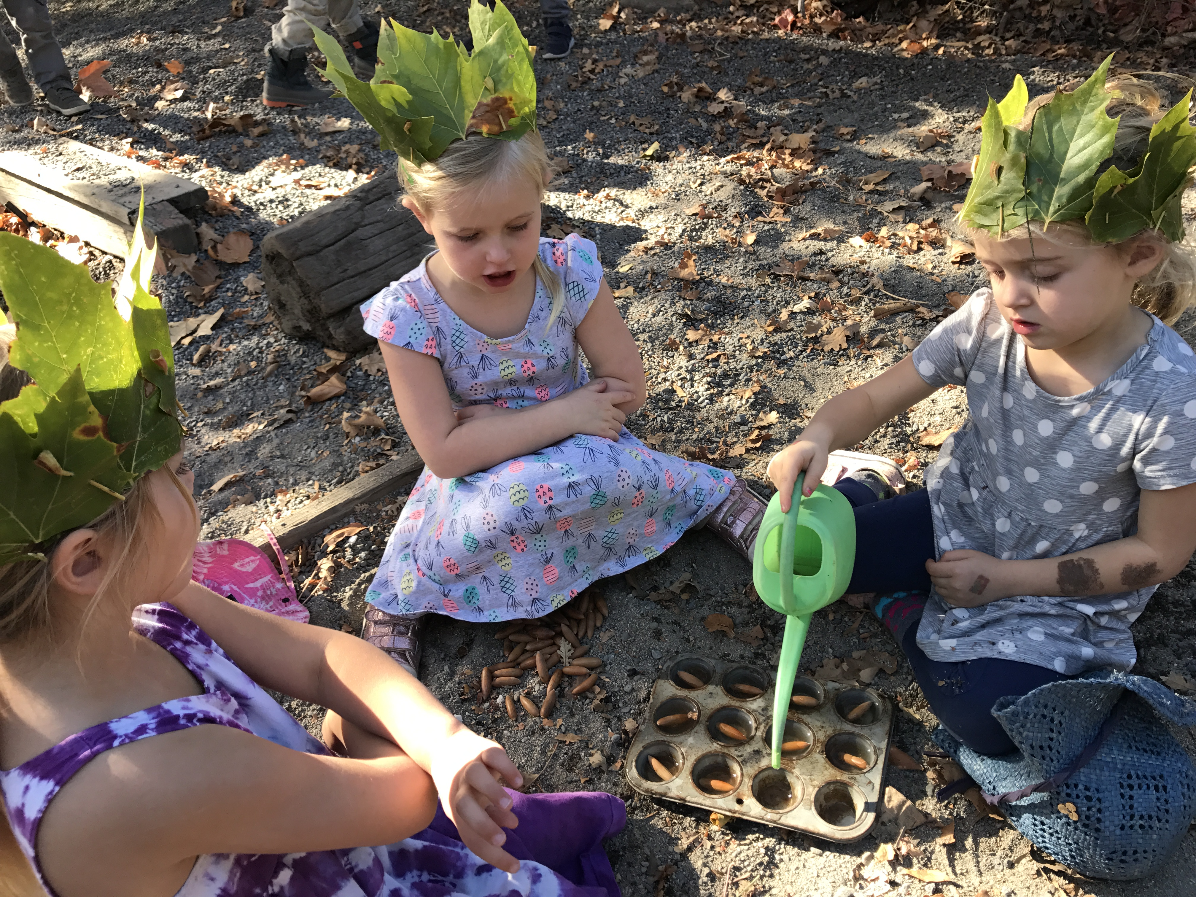 Outdoor imaginative play is fostered in our preschool