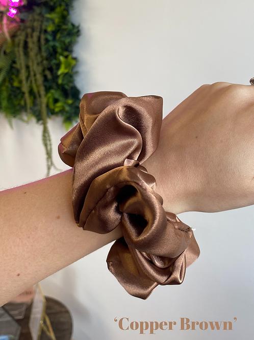 Copper Brown Silk Scrunchie