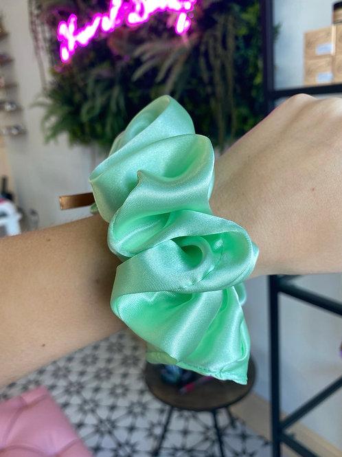 Pastel Green Silk Scrunchie
