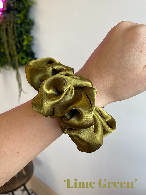 Lime Green Silk Scrunchie