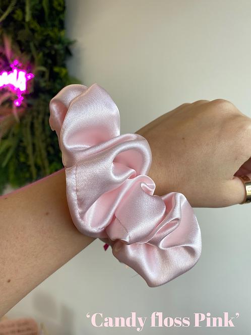 Candy Floss Pink Silk Scrunchie