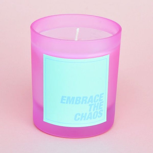 CACTUS EMBRACE THE CHAOS PASTEL FROSTED PINK CANDLE