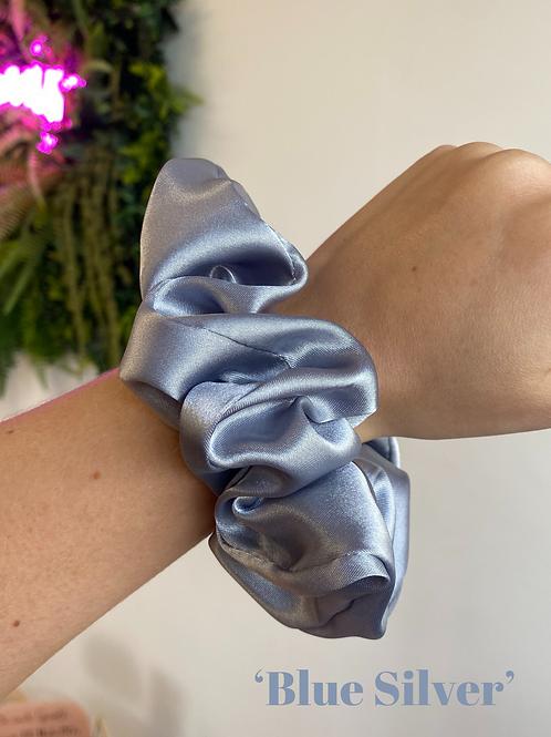Blue Silver Silk Scrunchie