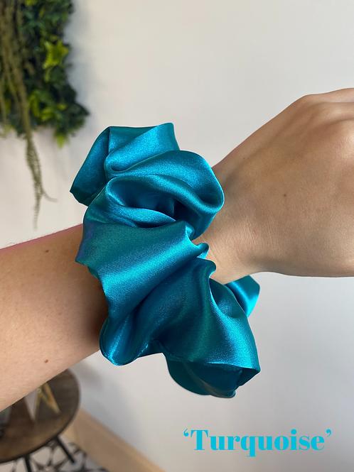 Turquoise Silk Scrunchie