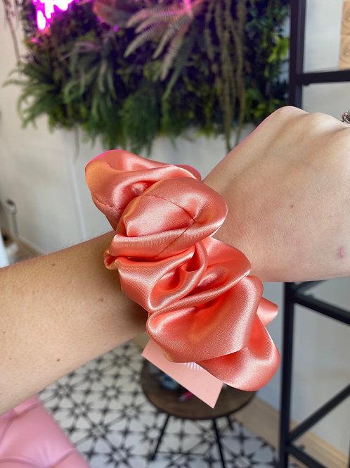 Orange Coral Silk Scrunchie