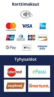 Maksutavat, korttimaksu, luottokortti, edenred, epassi, eazybreak, smartum, tyhysaldot, tyhymaksut