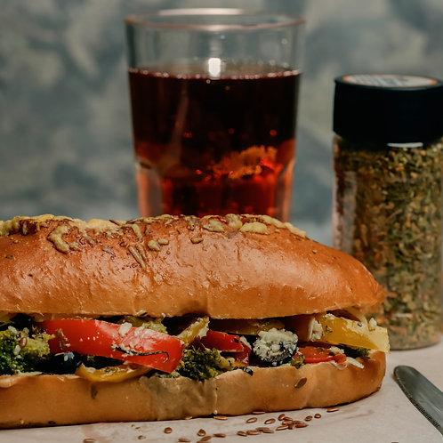 Mediterranean Veggie Foccacia Sandwich