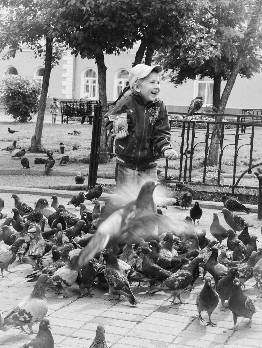 Siberian boys, Siberia, Russia, pigeons