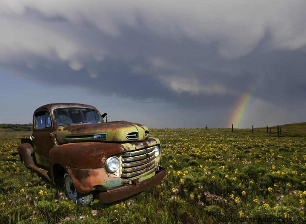 Classic Truck and Rainbow
