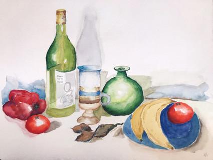 Wine and Fruit Still Life