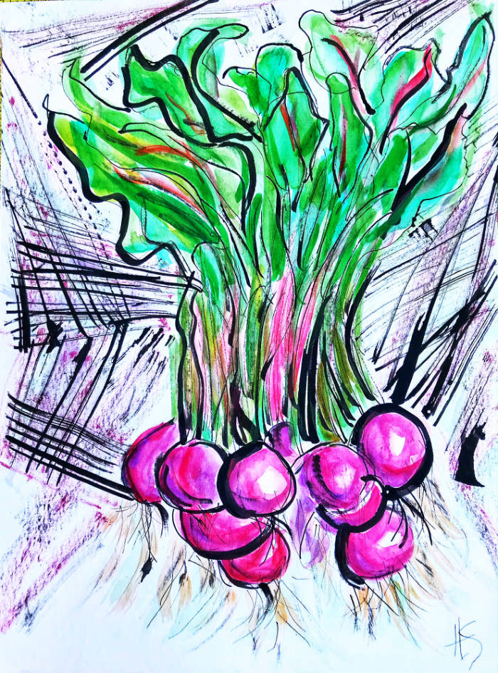 art, watercolour, beets, painting
