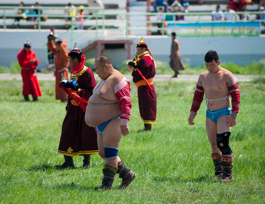 Mongolian, wrestlers, Nadaam
