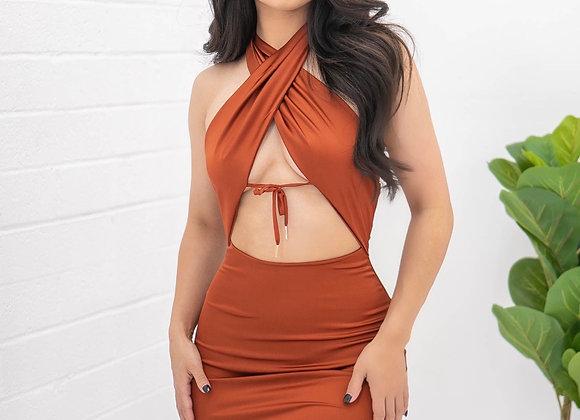 Hollywood Dress - Rust