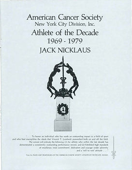 Athlete of the Decade 1969-1979 Jack Nic