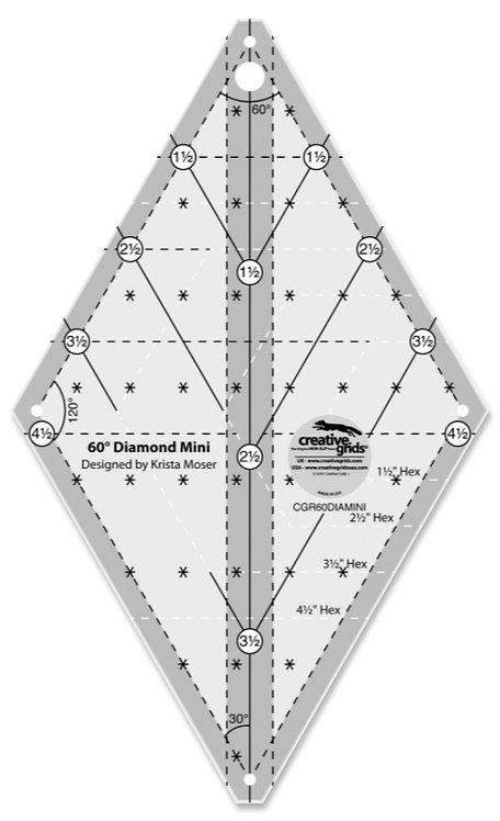 Creative Grids 60 Degree Diamond MINI Ruler