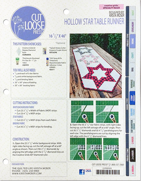 Hollow Star Table Runner Pattern