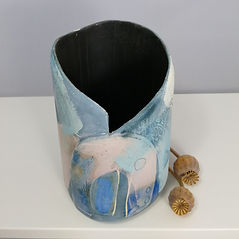 Susan Luker Painting Engobes on pots Devon