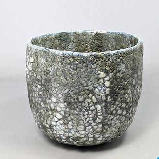 Susan Luker exciting new lichen glazed hand built ceramic potsLichen glazed pot