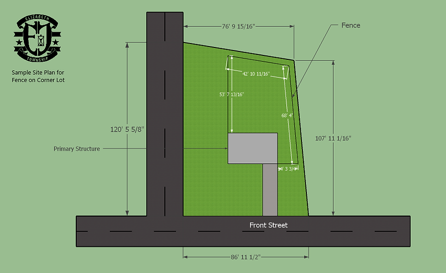 Sample Site Plan - Fence Corner Lot with