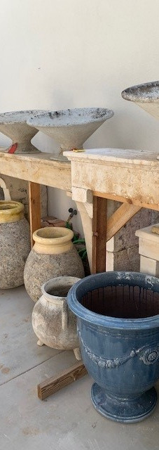 French Limestone Fireplaces with Willy Guhl planters
