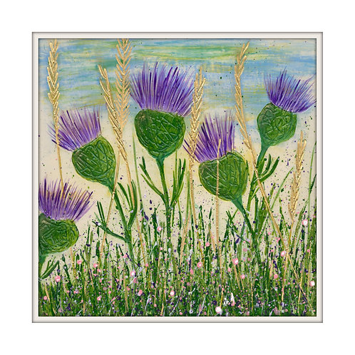 Dancing Thistles Mounted Art Print