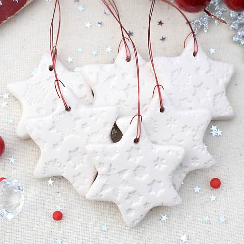 6 Mini Ceramic Star Decorations