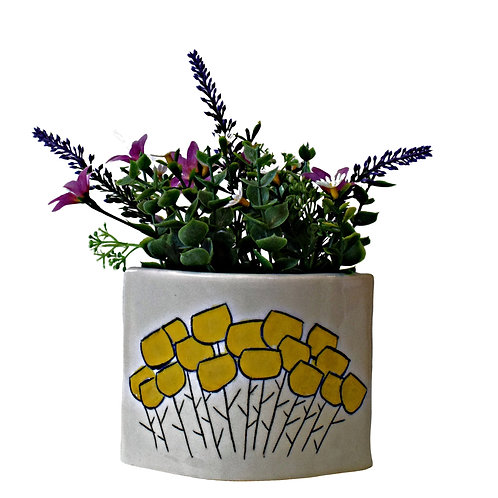 Sgraffito Bloom Low Vase Buttercup