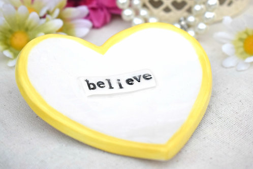 Believe Ceramic Heart Trinket Dish