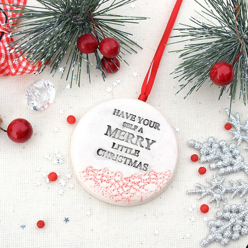 Hand Stamped Merry Christmas Bauble
