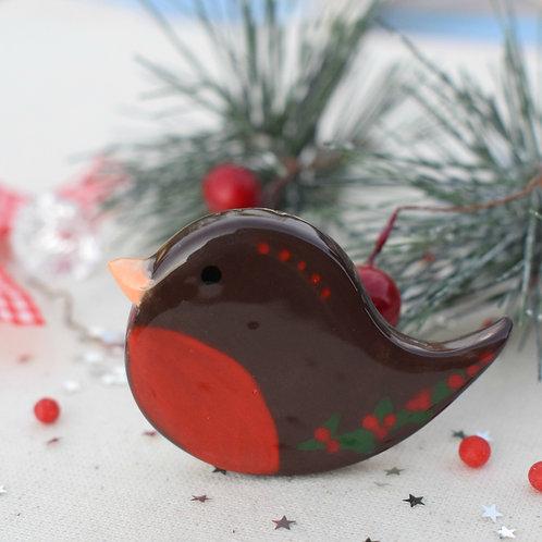 Happy Robin Red Berries Brooch
