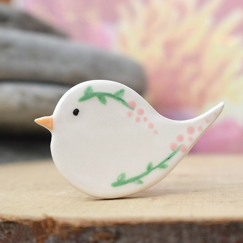 Little Bird Brooch Pink Flowers