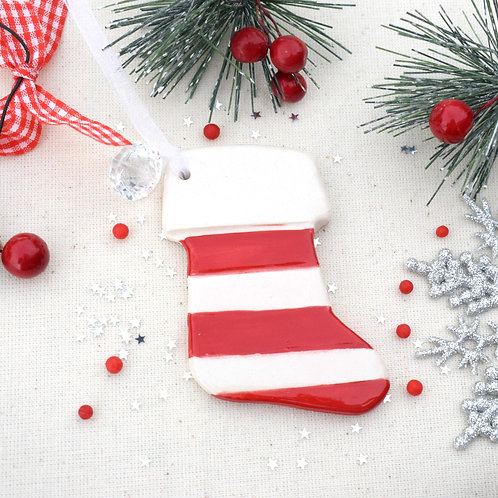 Ceramic Stripy Christmas Stocking