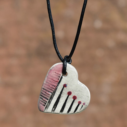 Red Heart Drop Ceramic Necklace