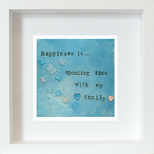 Happiness/Family Framed Mixed Media Art Print