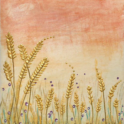 Sunset Barley Meadow Mounted Art Print