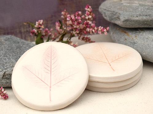 Leaf Round Coasters x4
