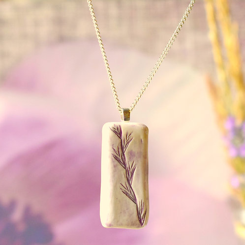 Rectangle Burgundy Country Heather Necklace