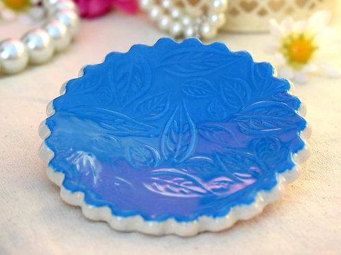 Blue Scalloped Edge Trinket Dish