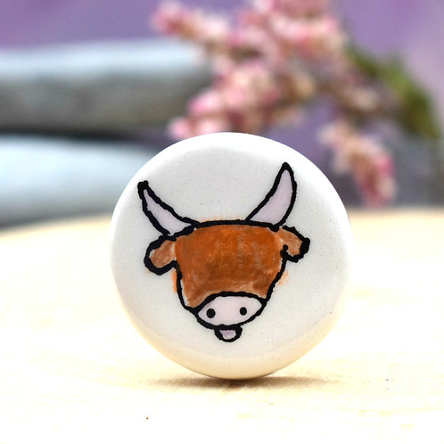 Little Highland Cow Illustrated Brooch