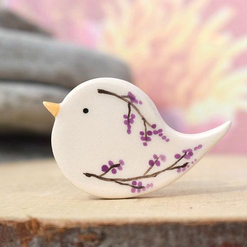 Little Bird Brooch Purple Twigs and Berries
